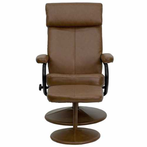 Magnificent Flash Furniture Contemporary Palomino Leather Recliner And Ottoman With Leather Wrapped Base Dailytribune Chair Design For Home Dailytribuneorg