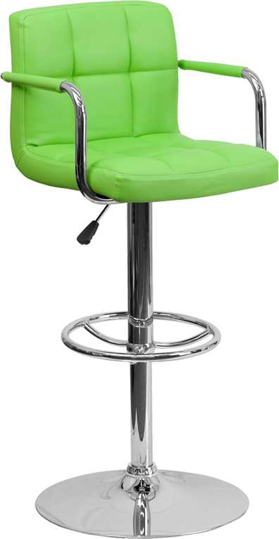 Fine Flash Furniture Contemporary Green Quilted Vinyl Adjustable Height Bar Stool With Arms And Chrome Base Evergreenethics Interior Chair Design Evergreenethicsorg