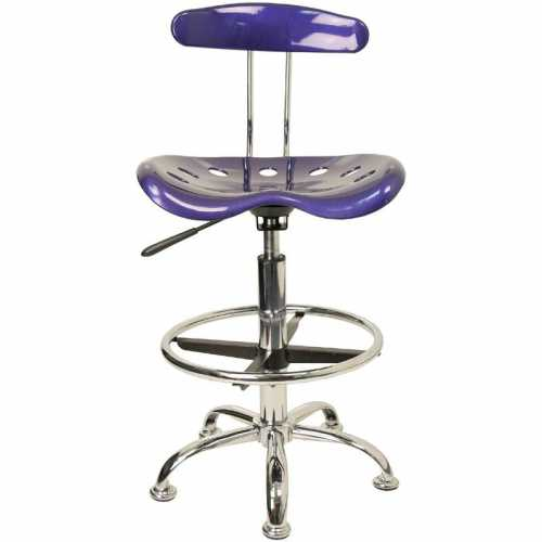 Amazing Flash Furniture Vibrant Deep Blue And Chrome Drafting Stool With Tractor Seat Uwap Interior Chair Design Uwaporg