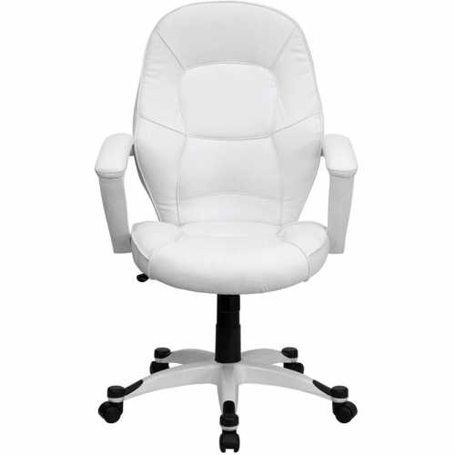 Flash Furniture Mid-Back White Leather Executive Office Chair