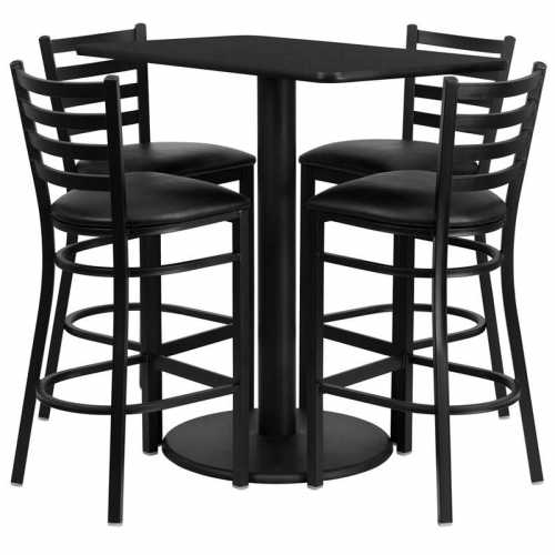 Enjoyable Flash Furniture 24 X 42 Rectangular Black Laminate Table Set With 4 Ladder Back Metal Bar Stools Black Vinyl Seat Ibusinesslaw Wood Chair Design Ideas Ibusinesslaworg