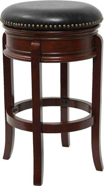 Astonishing 29 Backless Cherry Wood Bar Stool With Black Leather Swivel Seat Short Links Chair Design For Home Short Linksinfo