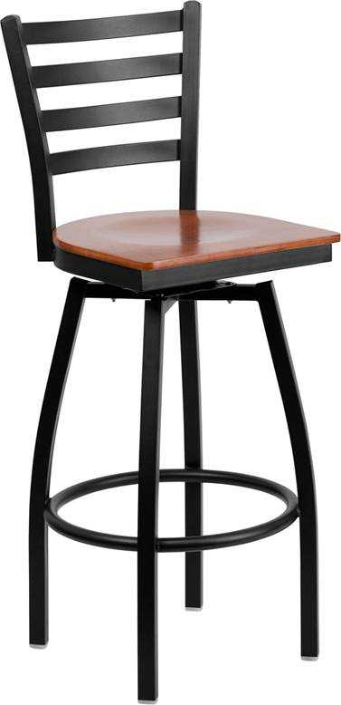 Cool Flash Furniture Hercules Series Black Ladder Back Swivel Metal Bar Stool Cherry Wood Seat Ibusinesslaw Wood Chair Design Ideas Ibusinesslaworg