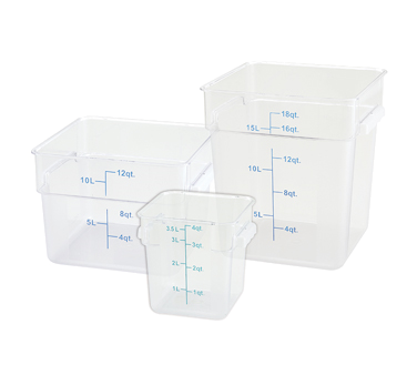 Square, Translucent Food Storage Containers and Lids